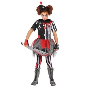 Girl SINISTER CLOWN Dress Costume Size L 10/12 NWT